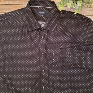 Rosso Milano Italy Black Polka Dot Dress Shirt 3XL